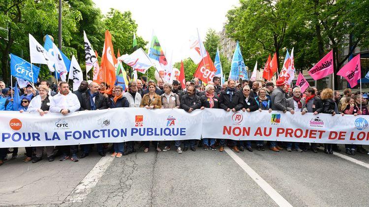 Lors de la manifestation «Pour la fonction publique, non au projet» du 9mai 2019, avec notamment les leaders syndicaux Laurent Berger, Bernadette Groison, Philippe Martinez et Yves Veyrier.