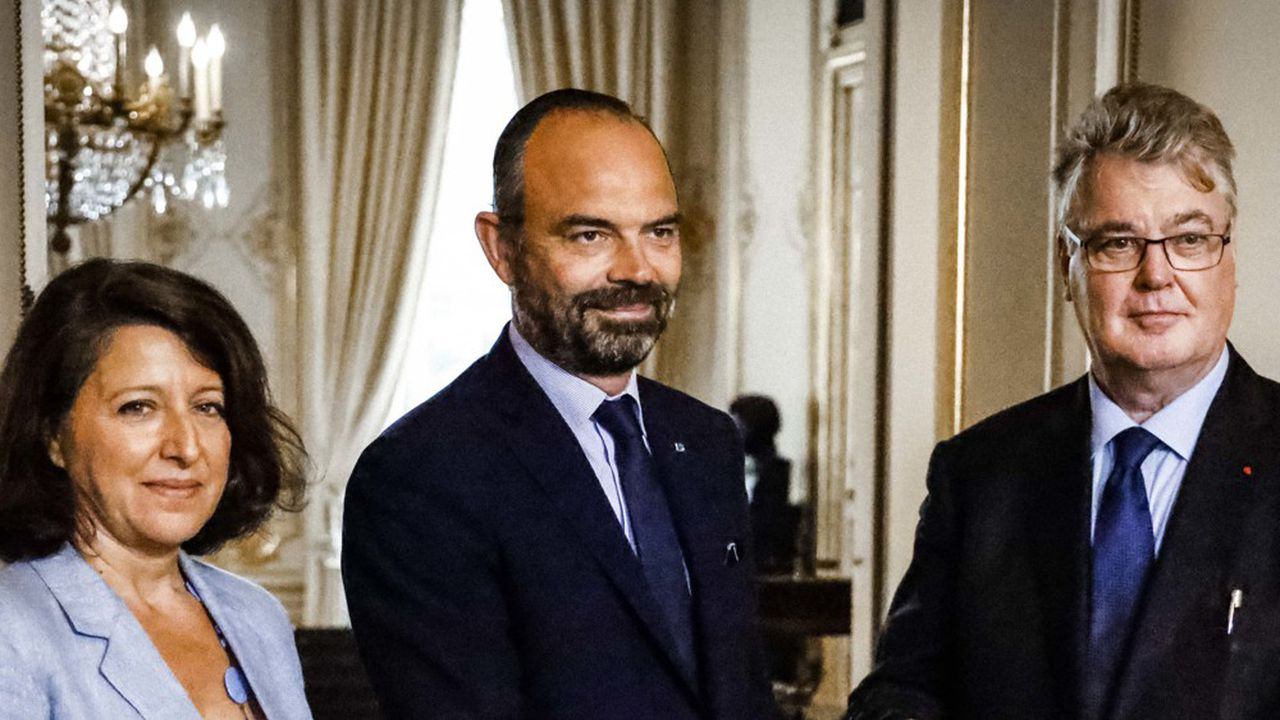 Agnès Buzyn, ministre de la Santé, Edouard Philippe, Premier ministre, et Jean-Paul Delevoye, haut-commissaire à la réforme des retraites.