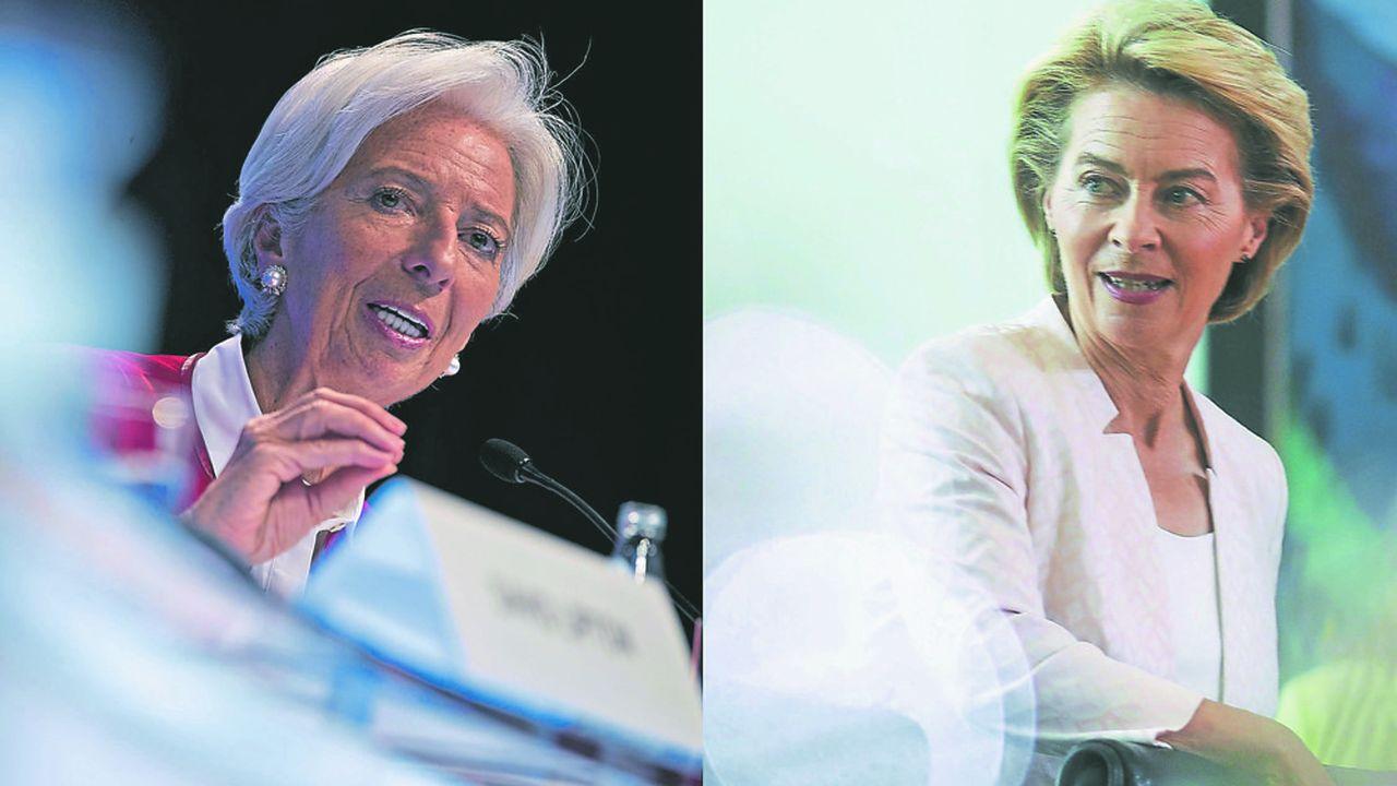 De gauche à droite: Christine Largarde, prochaine présidente de la BCE, etUrsula von der Leyen, élue présidente de la Commission européenne.