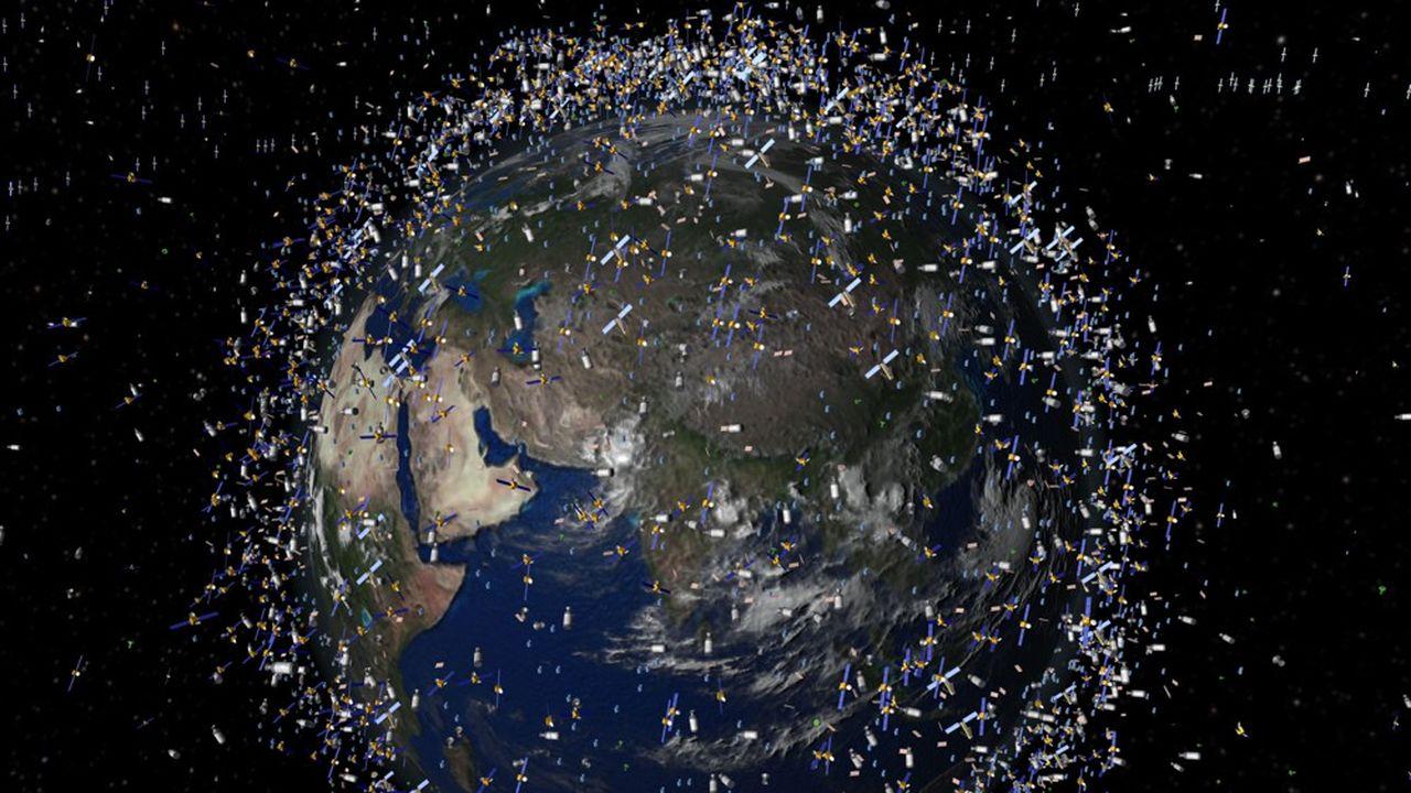 Cette image générée par ordinateur par l'Agence spatiale européenne montre l'ampleur déjà prise par les débris spatiaux. Environ 12.000 objets tournent autour de la terre dont 95% en orbite basse: de 800 à 1.500 kilomètres de la Terre.