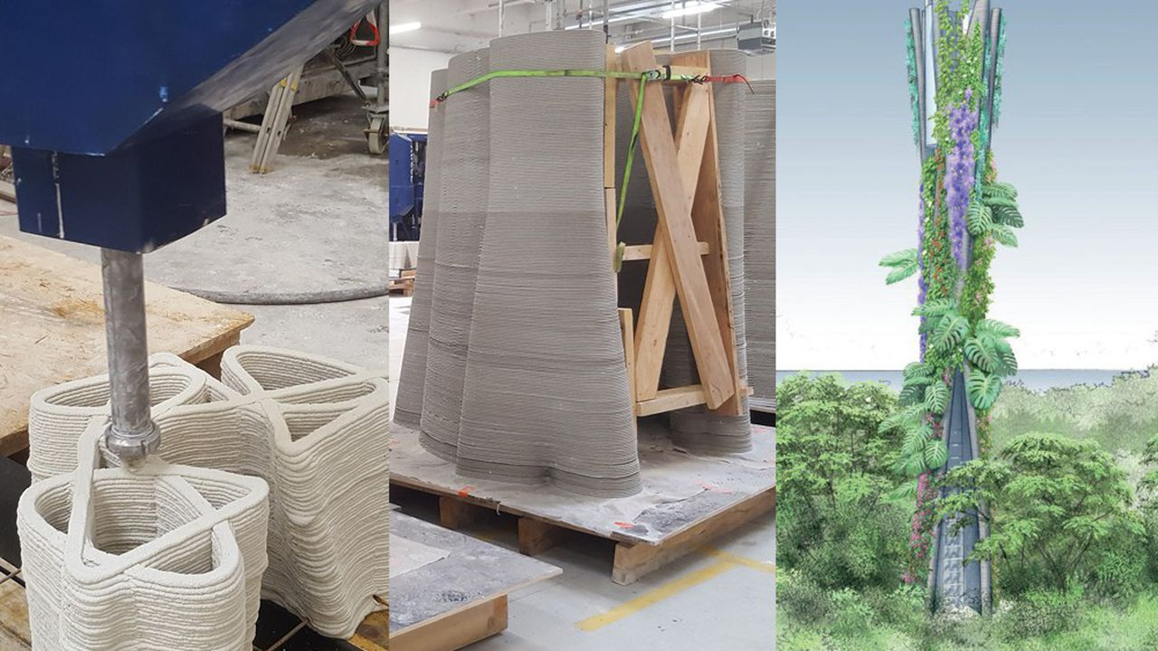 XTreeE a dans ses cartons plusieurs projets d'infrastructures. Pour l'entreprise martiniquaise d'infrastructures télécoms Art & Fact Innovation, il «imprime» ainsi des pièces qui seront assemblées sur site en Guadeloupe pour former un pylône télécoms de 12 mètres en forme de tronc d'arbre, qui sera végétalisé.