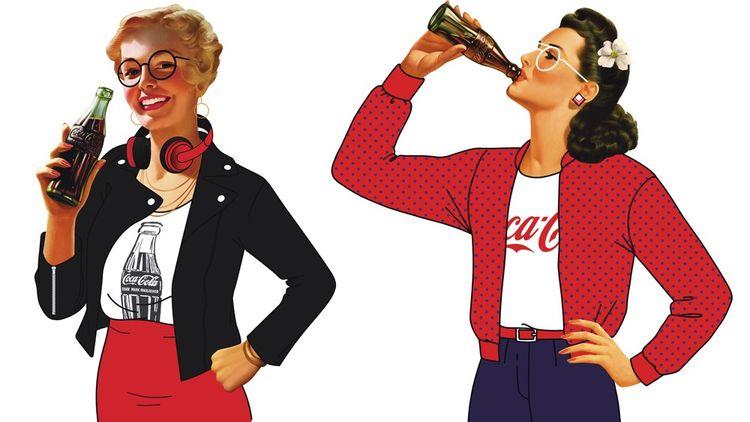Coca-Cola, qui célèbre ses cent ans en France, remet sur le devant de la scène et sur ses bouteilles les pin-up qui avaient fait ses beaux jours. Mais, petite nouveauté, des hommes ont fait leur entrée dans leurs rangs, parité oblige