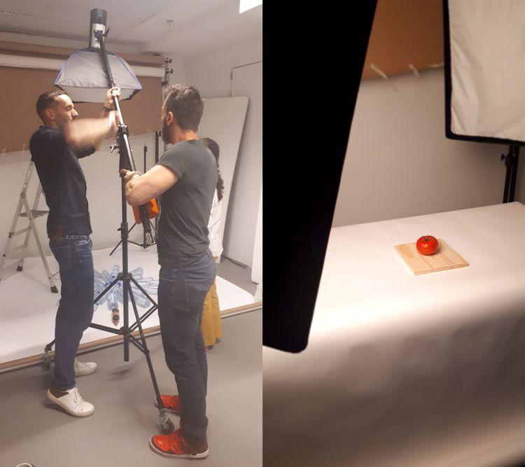 A gauche, Thierry Meneau et Michaël Mastrangelo installent les lumières du studio avec Joséphine Bichareil. A droite, une tomate solitaire, mais bien éclairée