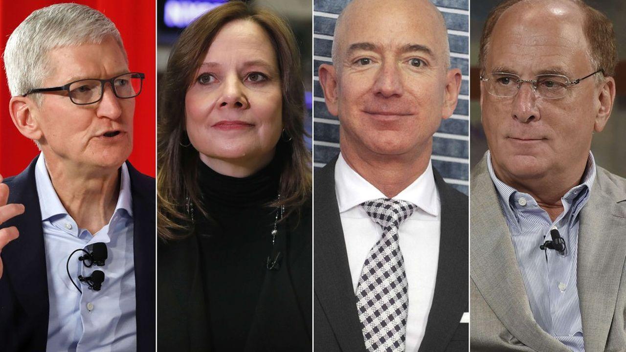 Près de 200 grands patrons américains s'engagent à promouvoir la mission sociétale de leur entreprise. Parmi eux, de gauche à droite: Tim Cook (Apple), Mary Barra (General Motors), Jeff Bezos (Amazon) et Larry Fink (BlackRock).