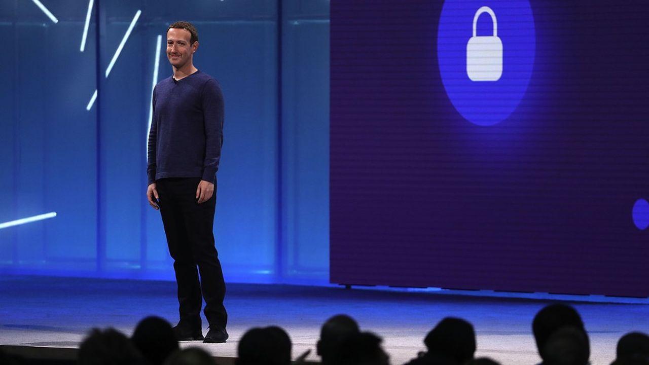 Mark Zuckerberg en mai2018, lors de la conférence F8 de Facebook, dédiée aux développeurs.