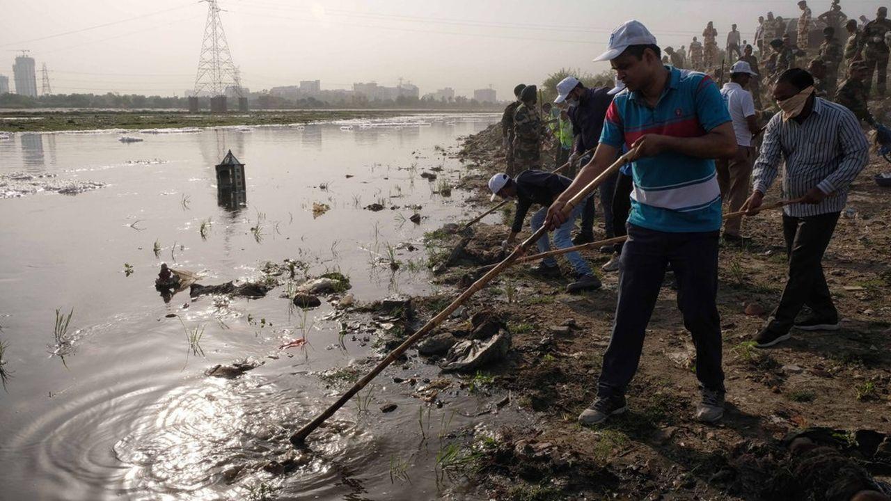 Des bénévoles nettoient les berges de la rivière Yamuna, un affluent du Gange en Inde.
