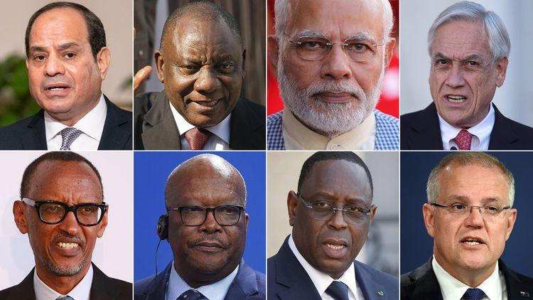 De haut en bas et de gauche à droite: Abdel Fattah al-Sissi (Egypte), Cyril Ramaphosa (Afrique du Sud), Narendra Modi (Inde), Sebastian Pinera (Chili), Paul Kagame (Rwanda), Roch Marci Christan Kaboré (Burkina Faso), Macky Sall (Sénégal) et Scott Morrison (Australie).
