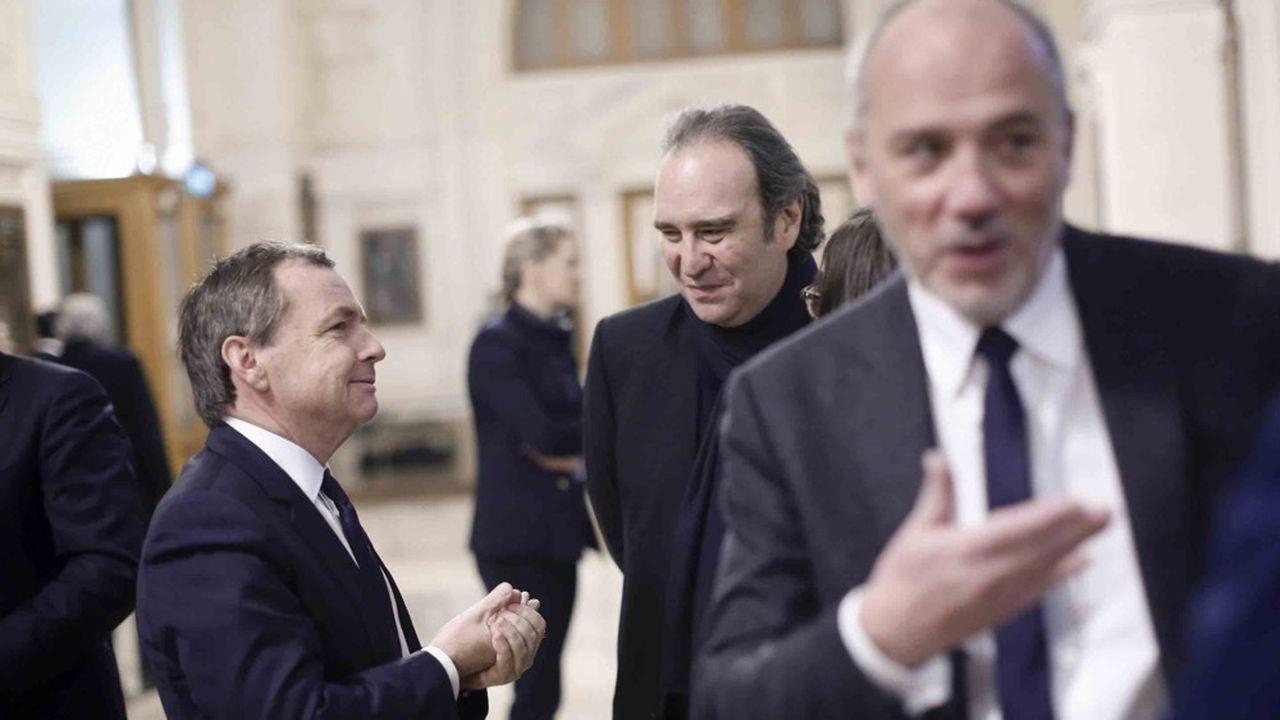 Alain Weill, PDG de SFR, Xavier Niel, fondateur et vice-président du conseil d'administration du groupe Iliad, et Stéphane Richard, PDG du groupe Orange.