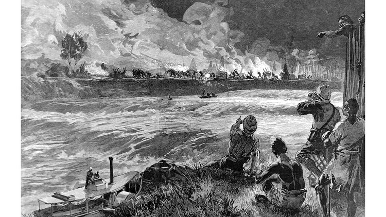 Gravure montrant l'incendie d'un village vu du camp de Yambuya en 1888