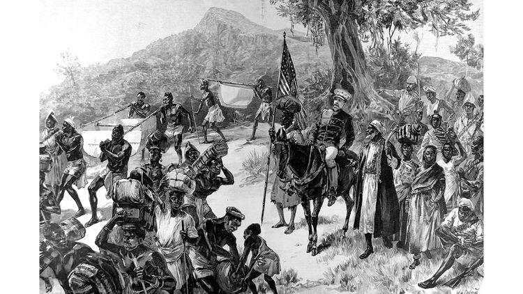 Gravure montrant Sir Henry Morton Stanley et Tippoo Tib quittant Matadi, sur la rivière Congo en 1887.