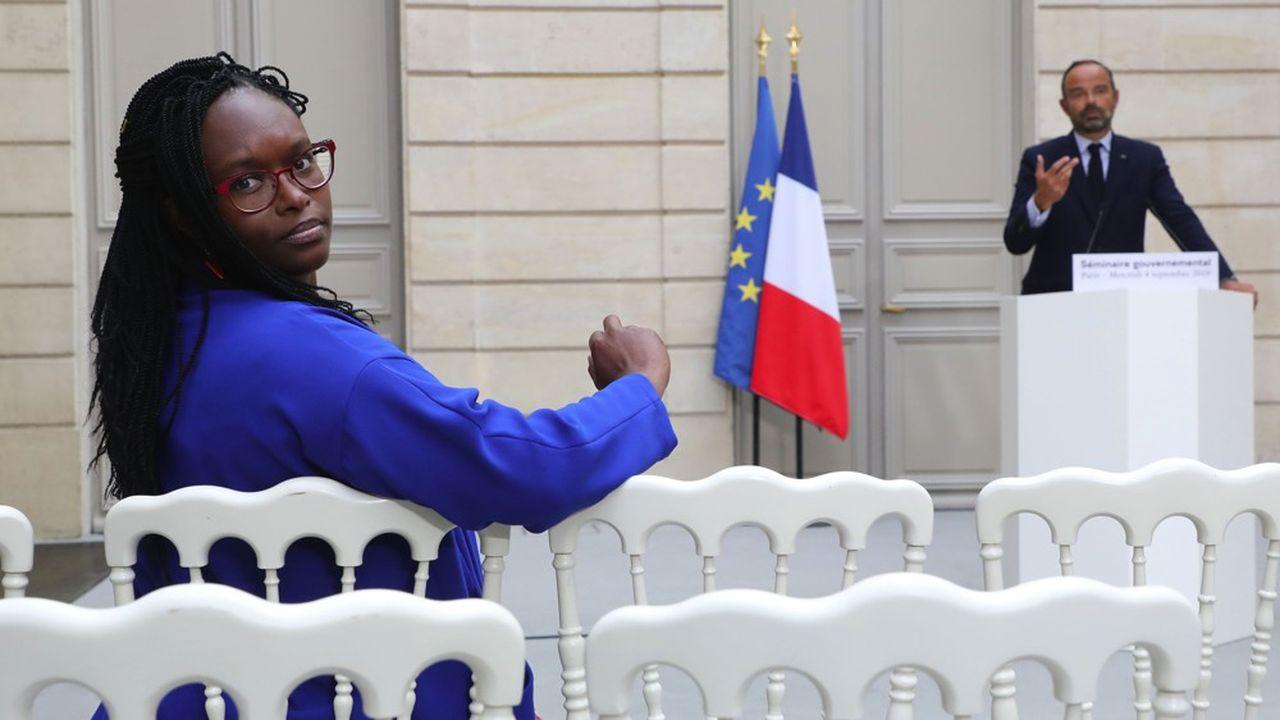 Sibeth Ndiaye, la porte-parole du gouvernement, et Edouard Philippe, le Premier ministre, à l'issue du séminaire gouvernemental de rentrée.