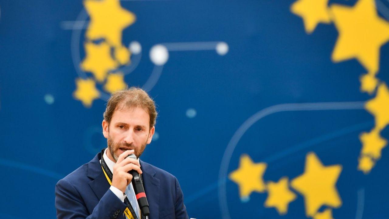 Pièce maîtresse du mouvement Cinq Etoiles, Davide Casaleggio intervient à l'occasion d'une convention politique à Rome, le 21octobre 2018.