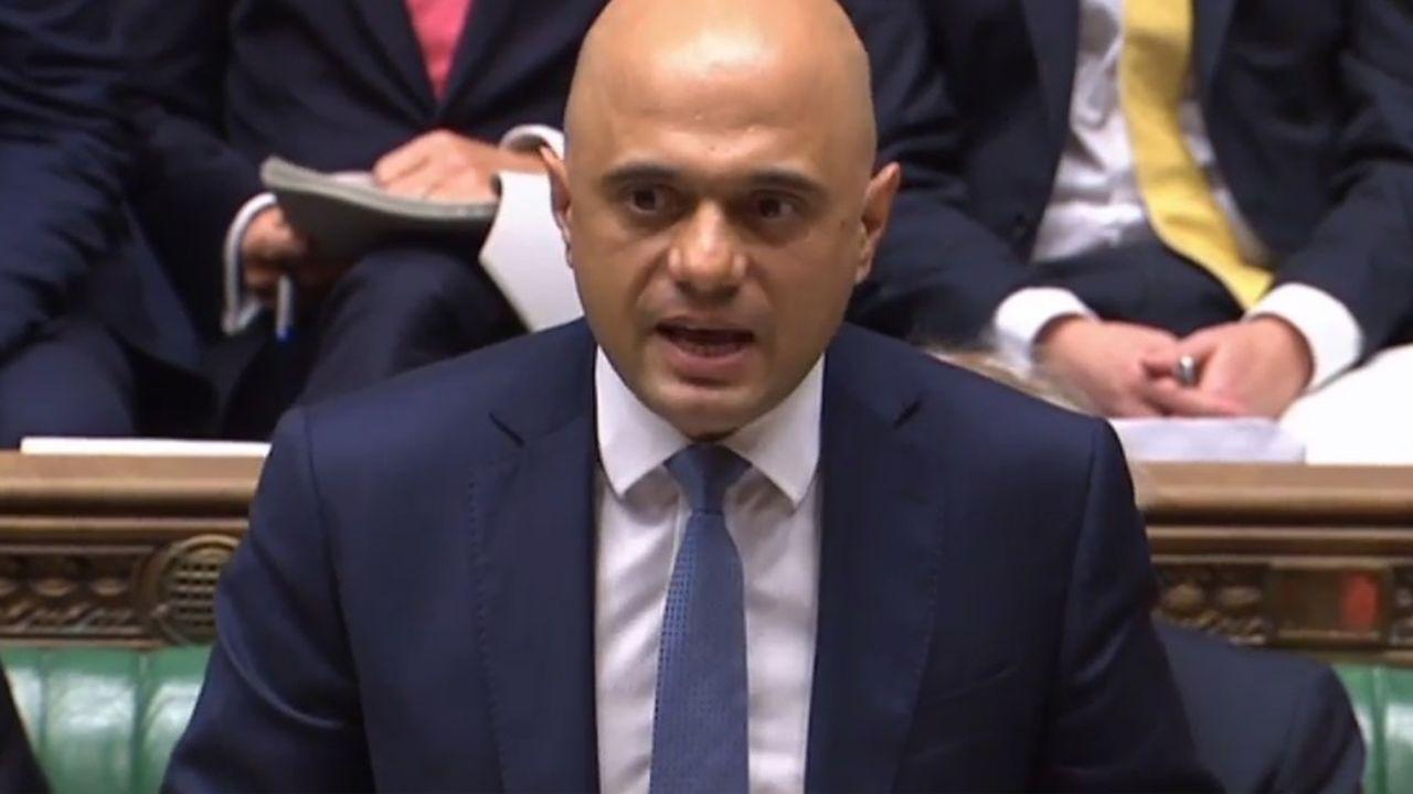 Le Chancelier de l'Echiquier, Sajid Javid , devant la Chambre des Communes.