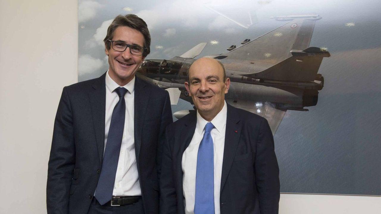 Patrice Caine, PDG de Thales et Eric Trappier, PDG de Dassault Aviation ont parfois des rivalités mais ne peuvent se passer l'un de l'autre dans l'aéronautique française de combat.