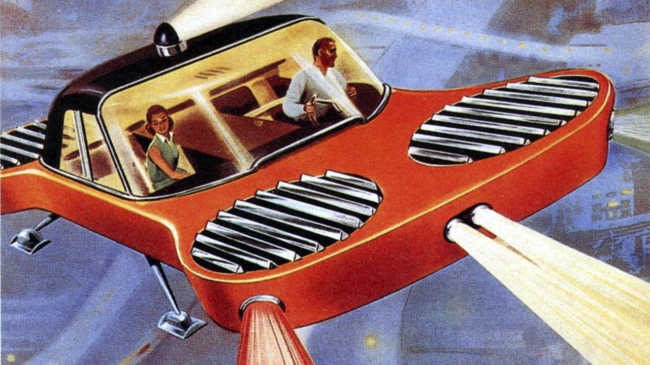 Paris Londres en taxi volant, illustration extraite de « Meccano Magazine » en 1955 .