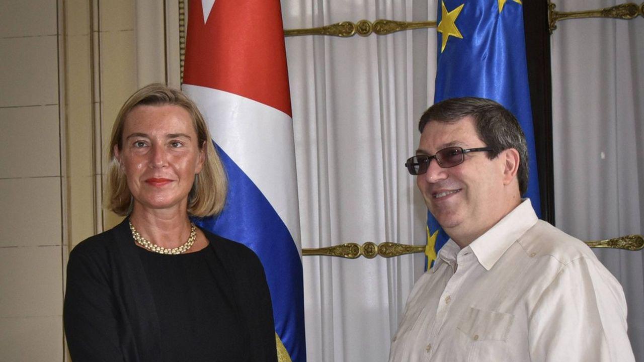Federica Mogherini, cheffe de la diplomatie européenne, a rencontré son homologue Bruno Rodriguez à La Havane.