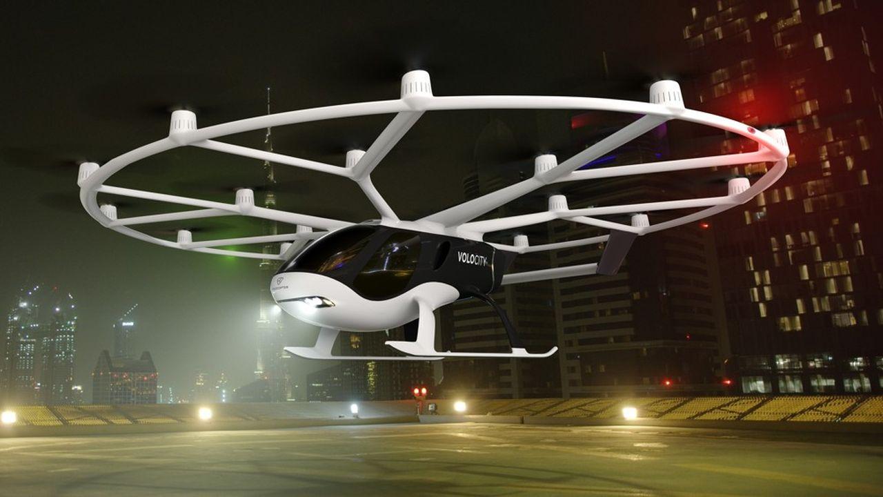 Le prototype de taxi volant développé par Volocopter peut parcourir 35km de distance en 30 minutes, avec une vitesse de pointe pouvant atteindre 110km/h.