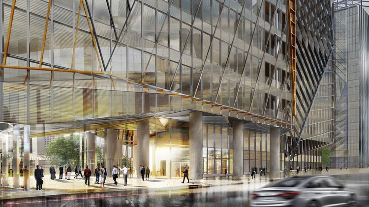 Le bas du bâtiment tel qu'imaginé par les Ateliers Jean Nouvel et les groupes Hines et AG Real Estate.