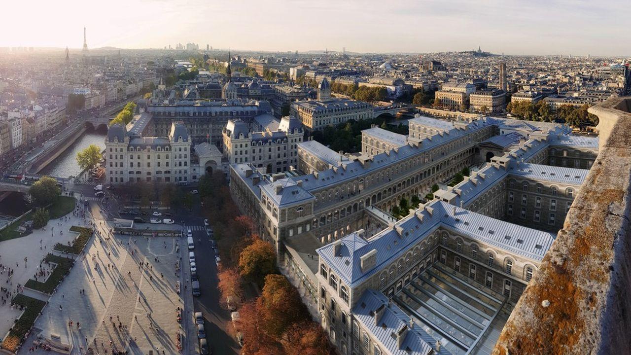 Un projet hybride verra le jour sur l'Hôtel-Dieu, coupant le bâtiment historique en deux, et mêlant une fonction hospitalière et des activités rentables qui permettront à l'AP-HP de tirer des recettes.