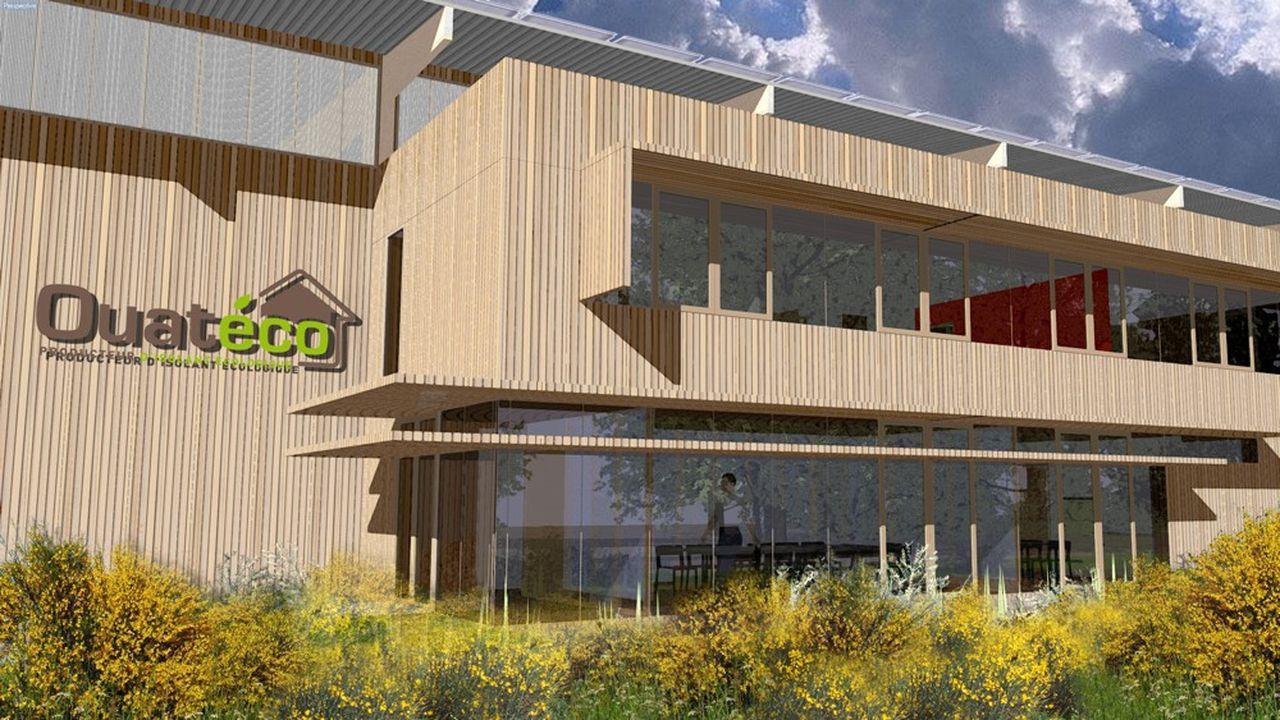 le bâtiment de Ouatéco tranche dans le paysage da la zone d'activités où il est installé.