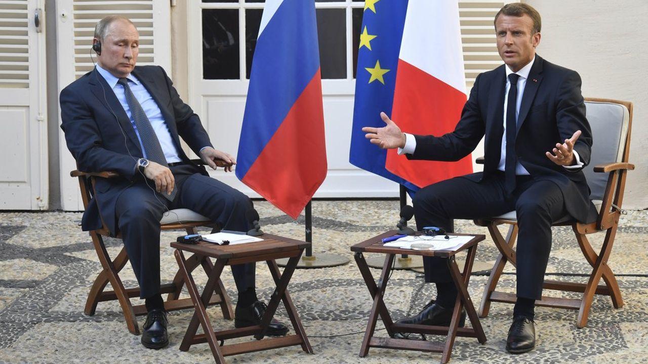 A la veille du sommet du G7 de Biarritz, le président Emmanuel Macron a reçu, le 19août au fort de Brégançon, son homologue russe Vladimir Poutine et a plaidé pour un rapprochement entre l'Europe et la Russie.