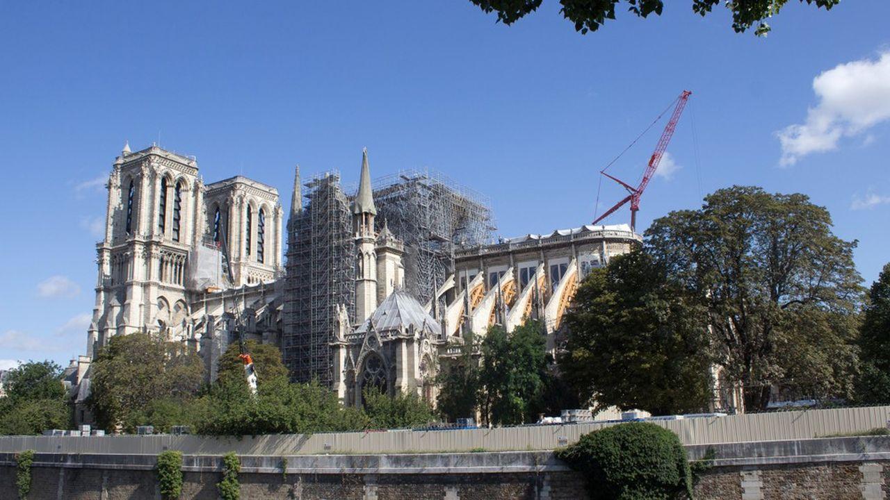La cathédrale Notre-Dame de Paris, en août 2019, quelques mois après son incendie.