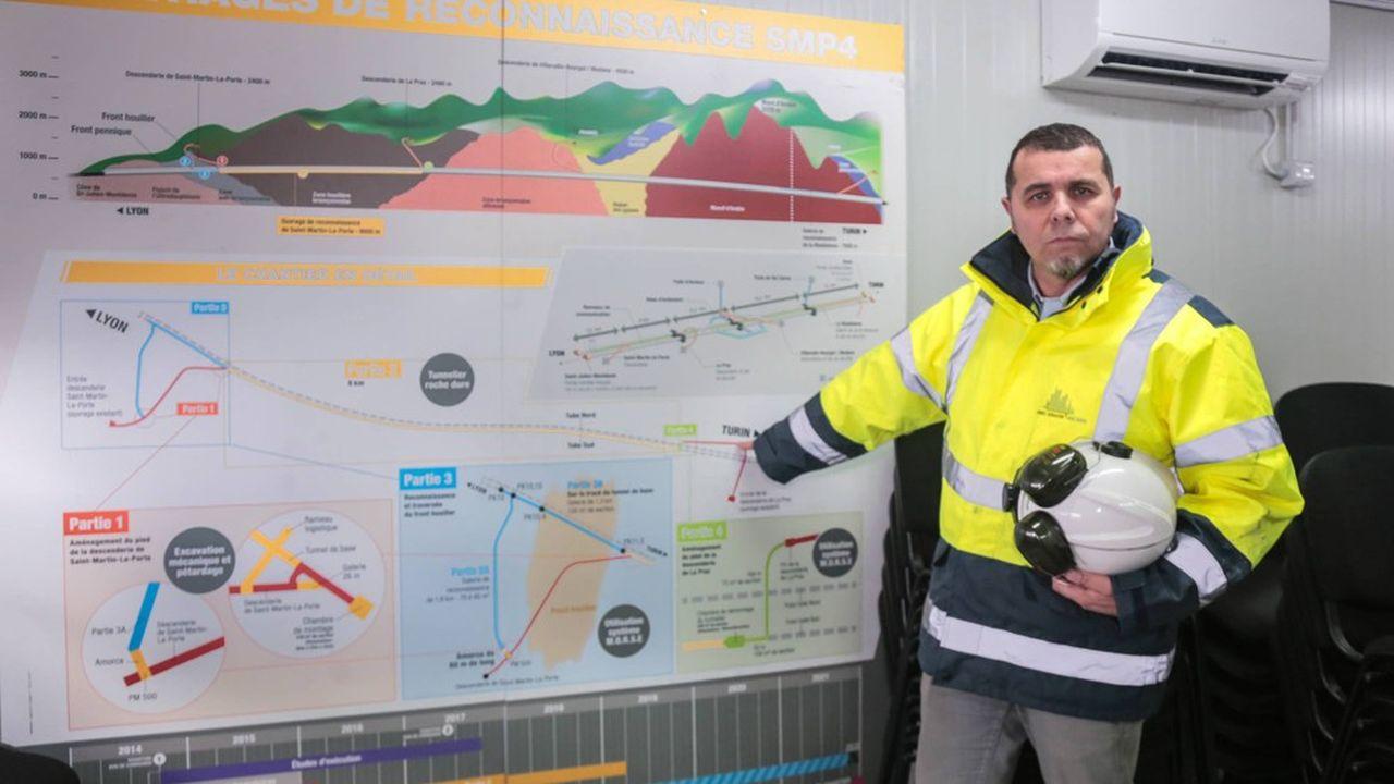 Le site de construction du tunnel pour le train TAV à grande vitesse Lyon-Turin.