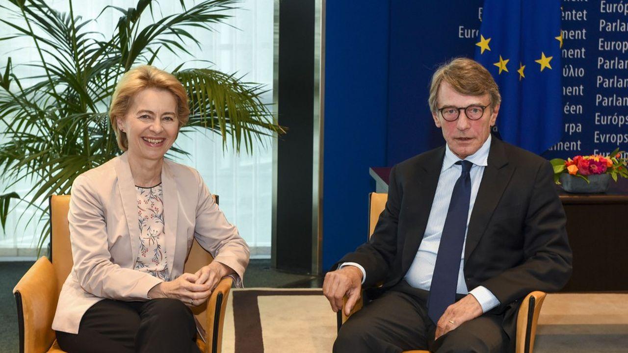 La future présidente de la Commissione européenne, Ursula von der Leyen, en compagnie du président du Parlement européen, David Sassoli.