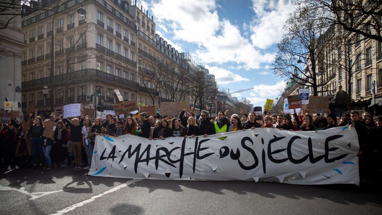 Tête de cortège de la « marche du siècle pour le climat », en mars dernier.