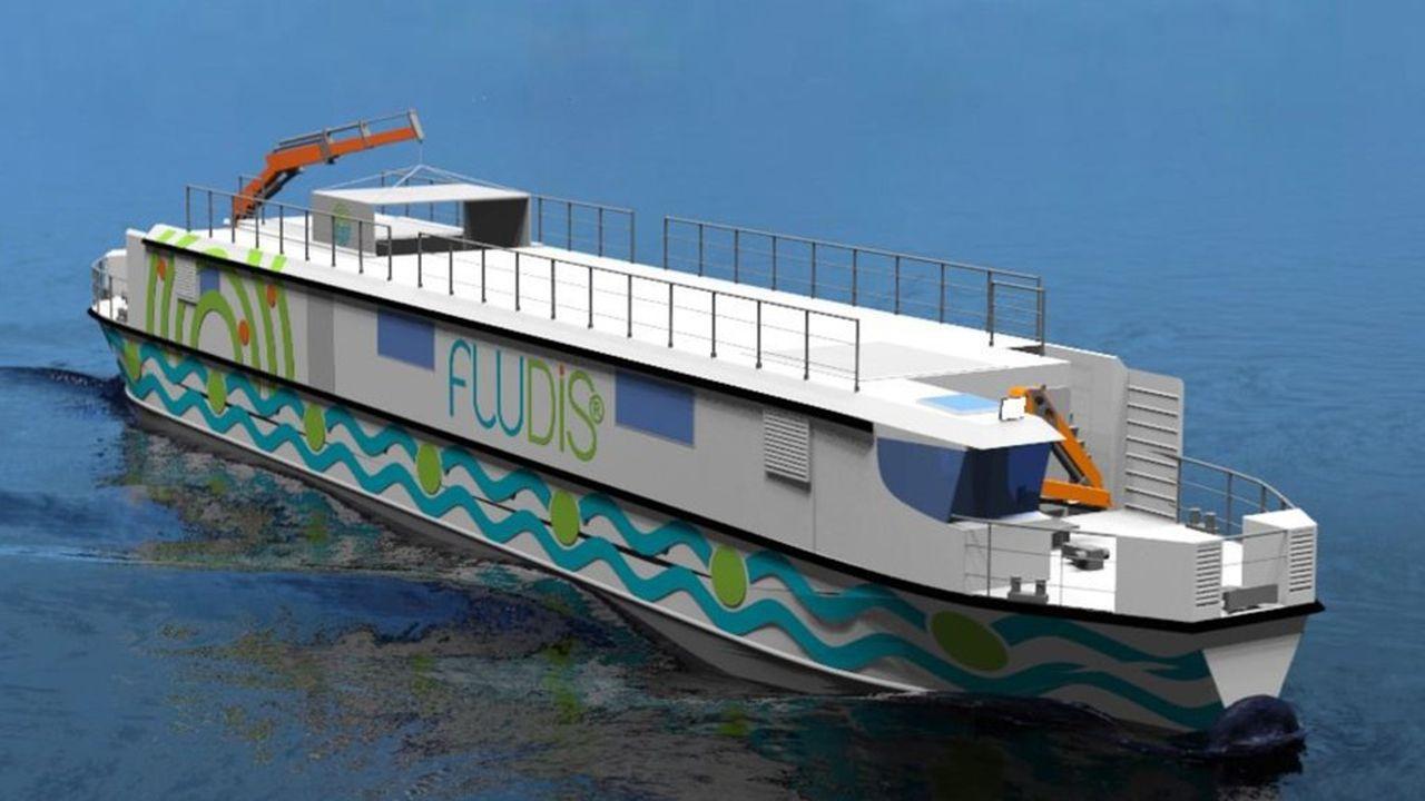 Le navire prochainement inauguré contient une flotte de vélos cargos électriques, pour assurer la livraison finale dans l'hypercentre parisien.
