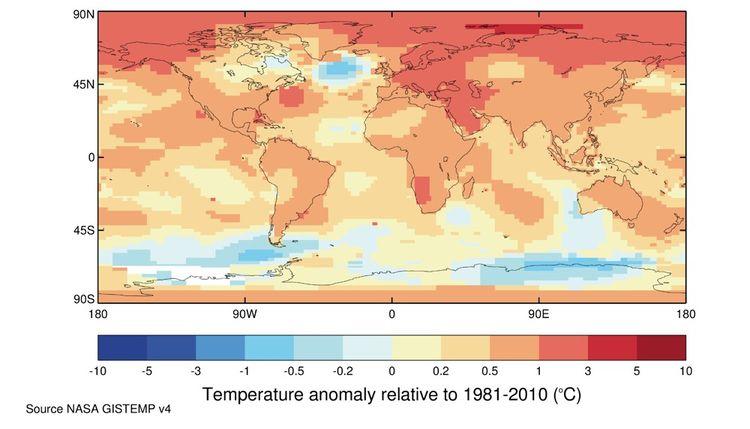 Anomalies de température moyennes sur cinq ans de 2015-2019 par rapport à la moyenne de 1981-2010.