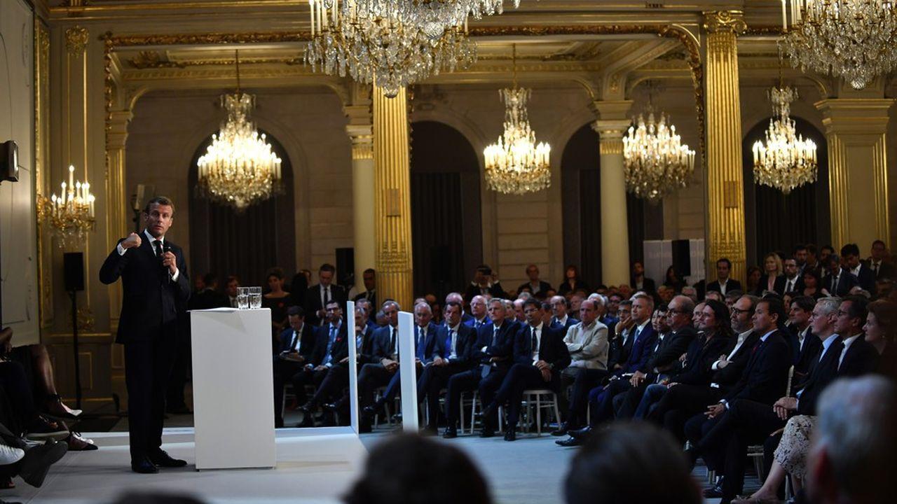 Discours du président de la République Emmanuel Macron lors du «France Digitale Day 2019», le 17septembre au Palais de l'Elysée.