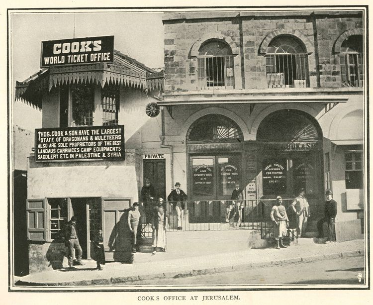 Agence Thomas Cook à Jérusalem, aux environs de 1900.
