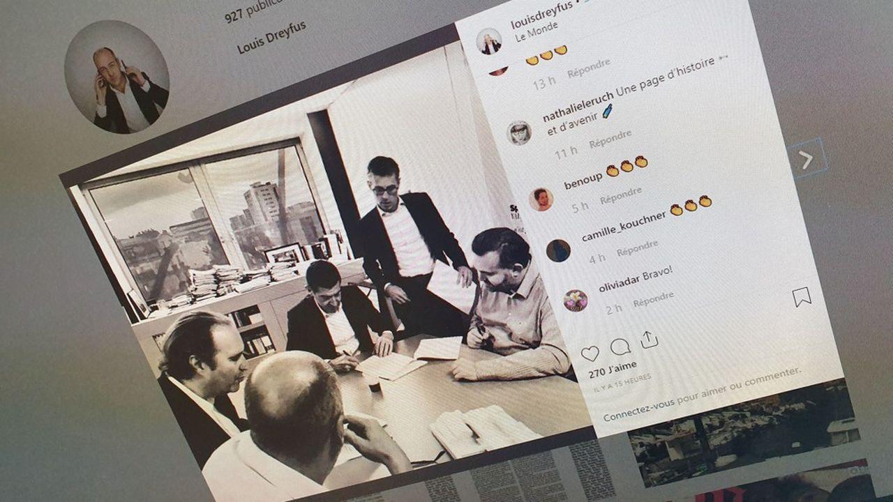 Louis Dreyfus, le patron du «Monde» a posté sur son compte Instagram une photo de la signature du droit d'agrément par Matthieu Pigasse et Xavier Niel.