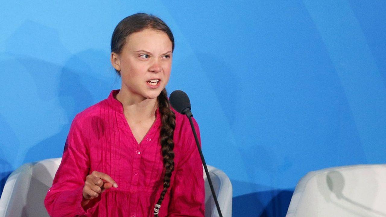Greta Thunberg lors de son discours à l'ONU, le 23 septembre 2019.