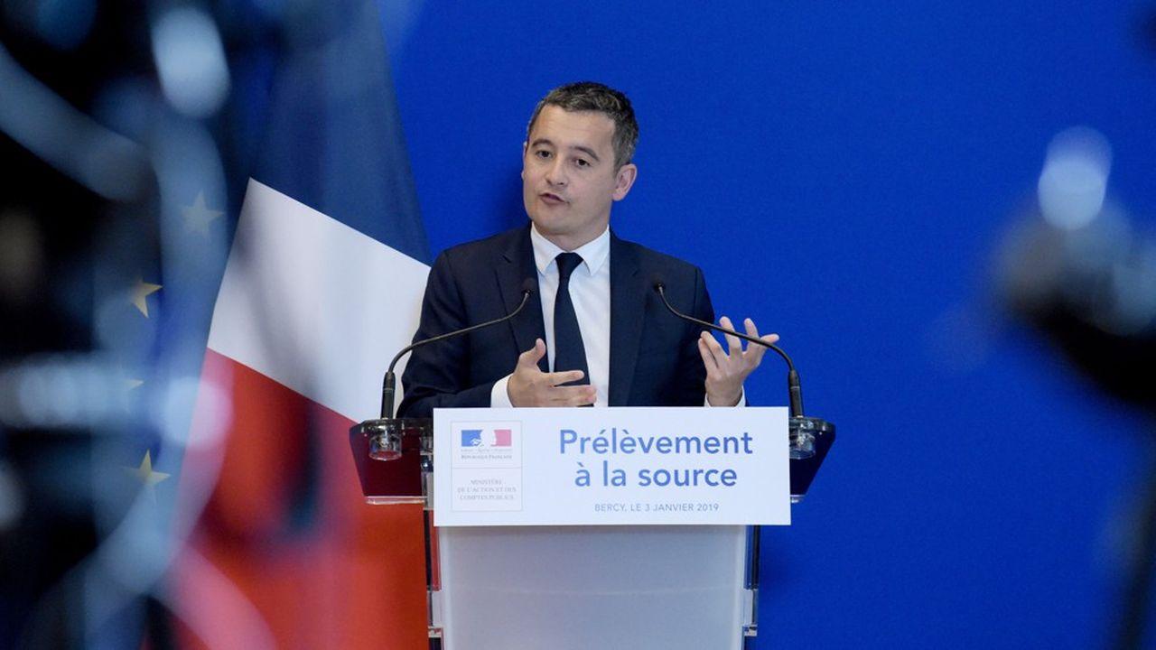 Avec le prélèvement à la source, « sans augmenter l'impôt des Français, on a fait une réforme qui fait rentrer plus d'argent dans les caisses de l'Etat », s'est félicité ce mercredi matin Gérald Darmanin (ci-dessus en janvier 2019).