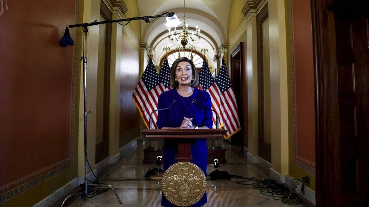 Nancy Pelosi, Speaker de la chambre des Représentants, lors de l'annonce du lancement de la procédure de destitution.
