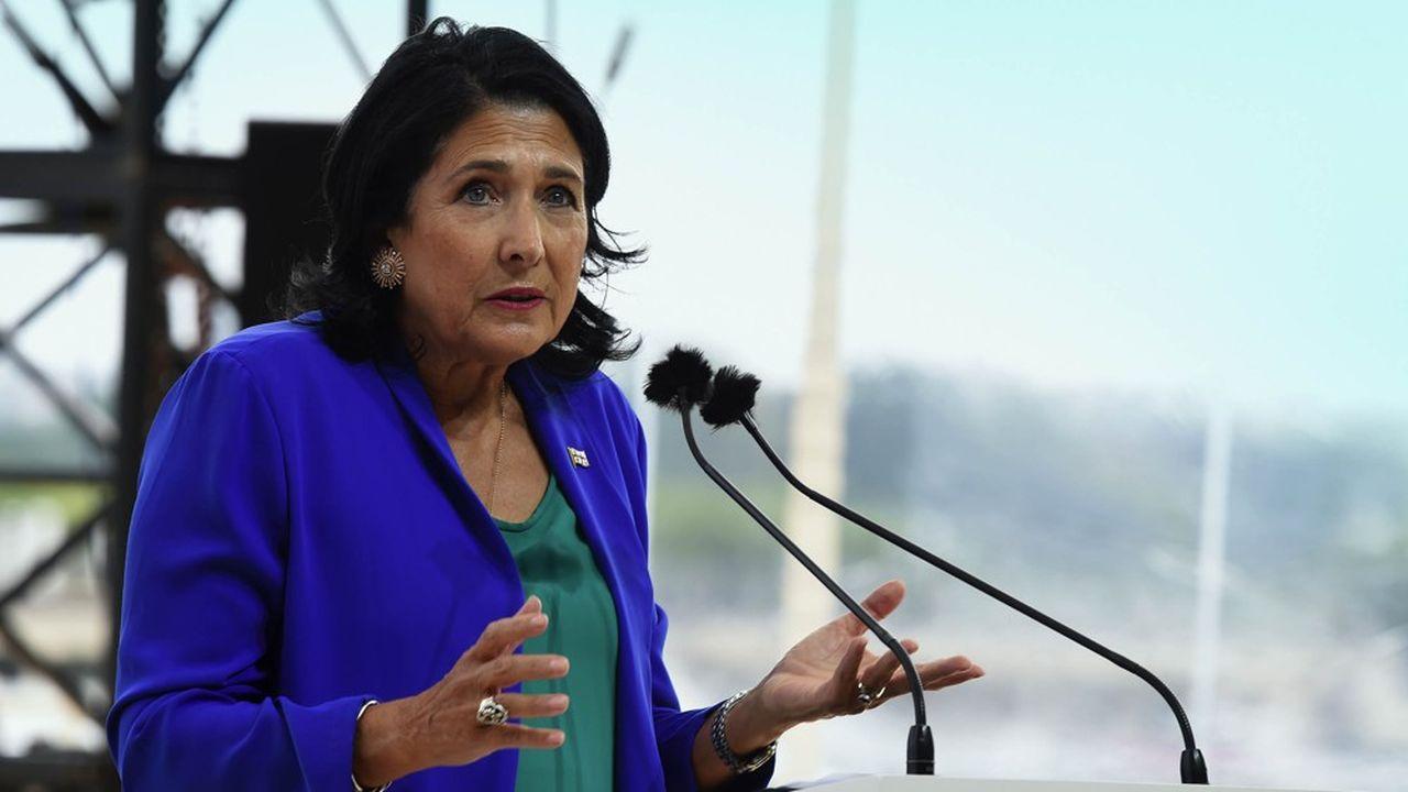 La présidente de Géorgie, Salome Zourabichvili, lors des rencontres d'été du Medef en août2019.