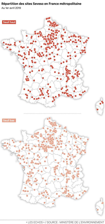 Fin 2015, la France comptait 1.261 sites classés: 700 en seuil haut et 561 en seuil bas (notre carte). Selon le ministère de la Transition écologique et solidaire, elle en compte à ce jour 1.312 (dont 705 en seuil haut).