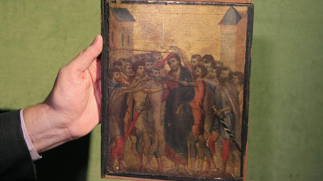 Deux des scènes de ce dyptique étaient connues à ce jour : la Flagellation du Christet la Vierge à l'enfant trônant et entourée de deux anges.