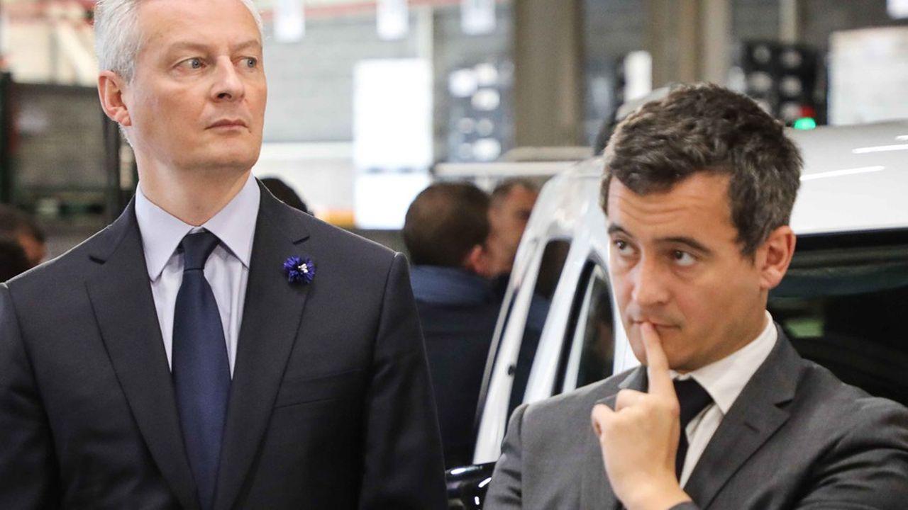 Bruno Le Maire, ministre de l'Economie et des Finances, et Gérald Darmanin, ministre de l'Action et des Comptes publics, font le pari que les gains de pouvoir d'achat finiront par soutenir la croissance.