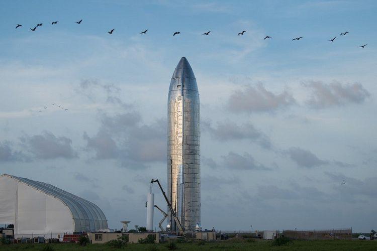 Le prototype de Starship, sur le site de Boca Chica, au Texas.