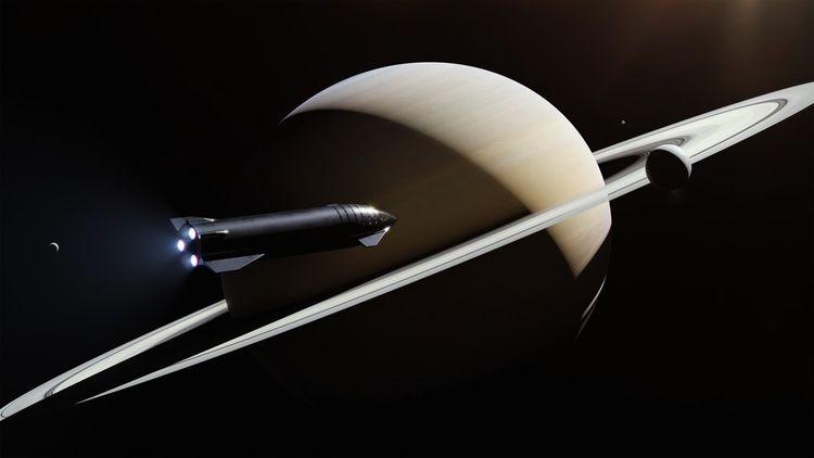 Vue d'artiste montrant Starship survoler Saturne.