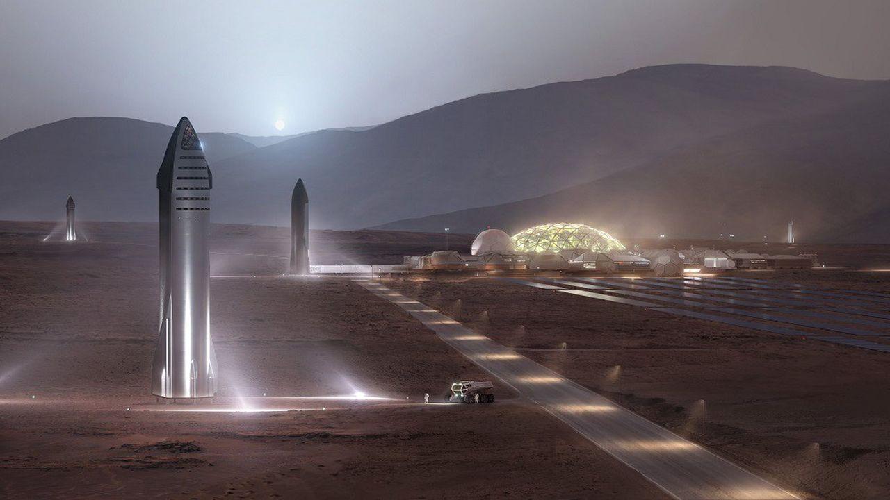 SpaceX a présenté des vues d'artistes de futurs astroports sur la Lune et Mars, desservis par Starship.