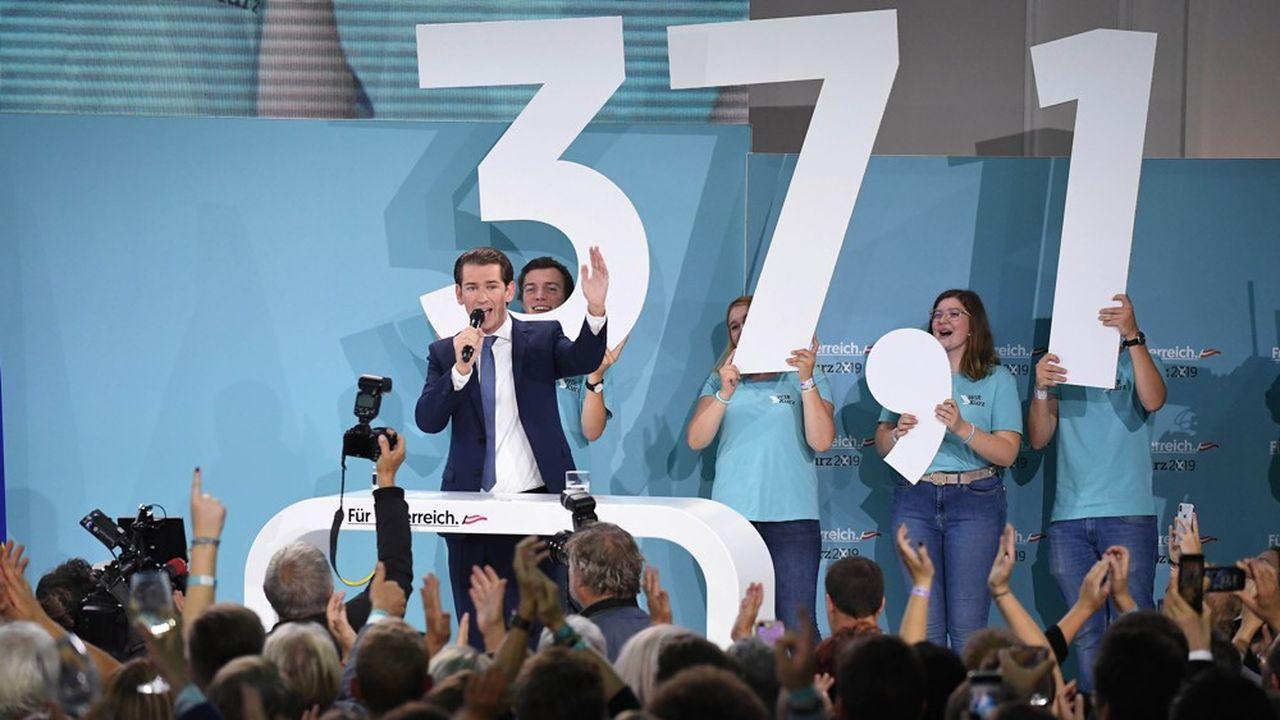 Lespartisans du chef du Parti populaire (OVP), Sebastian Kurz, saluent sa victoire écrasante à l'issue des élections législatives anticipées de dimanche, avec 38,3% selon les chifres publiés lundi par le ministère de l'Intérieur.