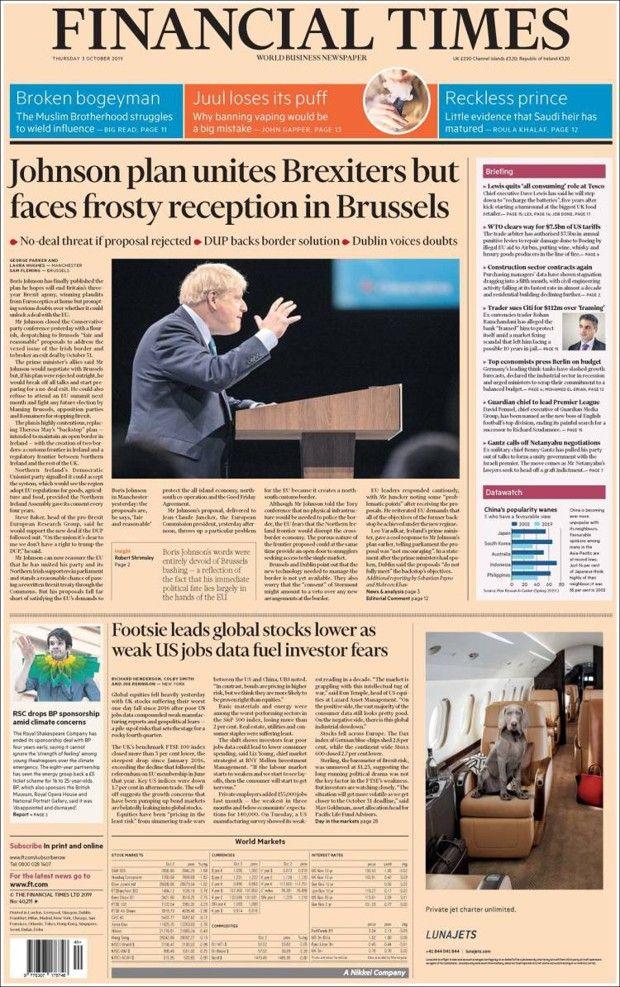 Brexit : la presse britannique entre espoir et consternation après le plan de Johnson