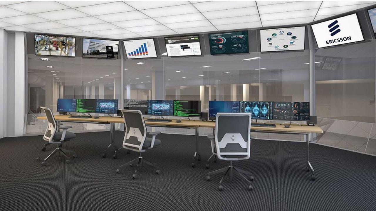 Vue d'artiste de la salle de contrôle de la future usine 5G d'Ericsson qui doit ouvrir l'an prochain à Lewisville.