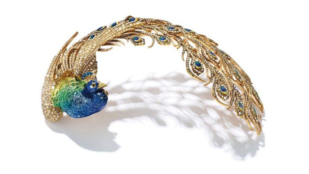 Aigrette en émail et diamant de la joaillerie Mellerio dits Meller (Paris, circa 1905) provenant de la collection du maharaja Jagatjit Singh de Kapurthala. Estimation : 500.000 dollar