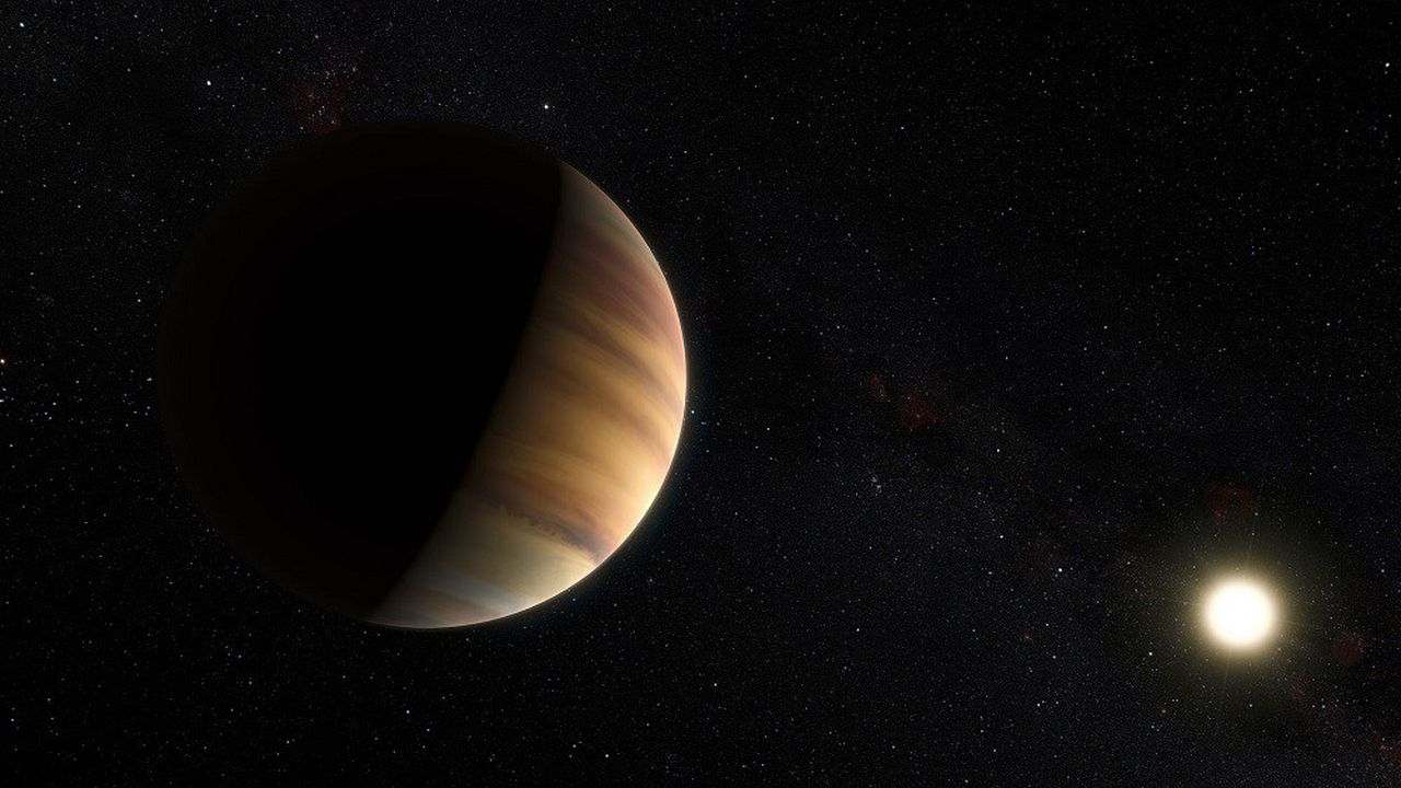 Vue d'artiste de 51 Pegasi-b, première exoplanète découverte en orbite autour d'une étoile et située à environ 50 années-lumière.