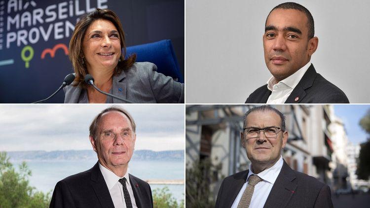 En haut: Martine Vassal +Said Ahamada; en bas: et Bruno Gilles +Yvon Berland et Said Ahamada.